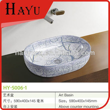 HY-5006-1 Hot sale oval shape shampoo bowl ceramic sink