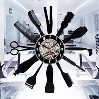 art wall vinyl record clocks barber tools shape fancy wall clocks