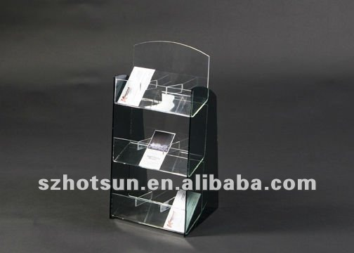 three tiers acrylic biz card holder with black back side