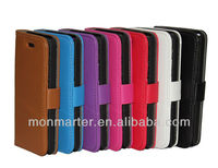 For iphone 5c case, wallet Lychee PU leather case for iphone
