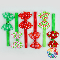 Christmas Customize Red Green Elastic Headbands For Babies ,Cheer Bows Headband Girls, Bows With hair Ribbons For Infant Toddler