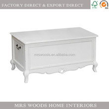 french shabby chic furniture wholesale white painted wooden storage trunk