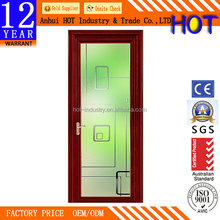 Super Quality Solid Wooden Style Frame Main Glass Door Commercial Entry Cafe Door