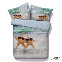 HD digital print bed cover Fun Starfish and Beach scene 3d comforter set