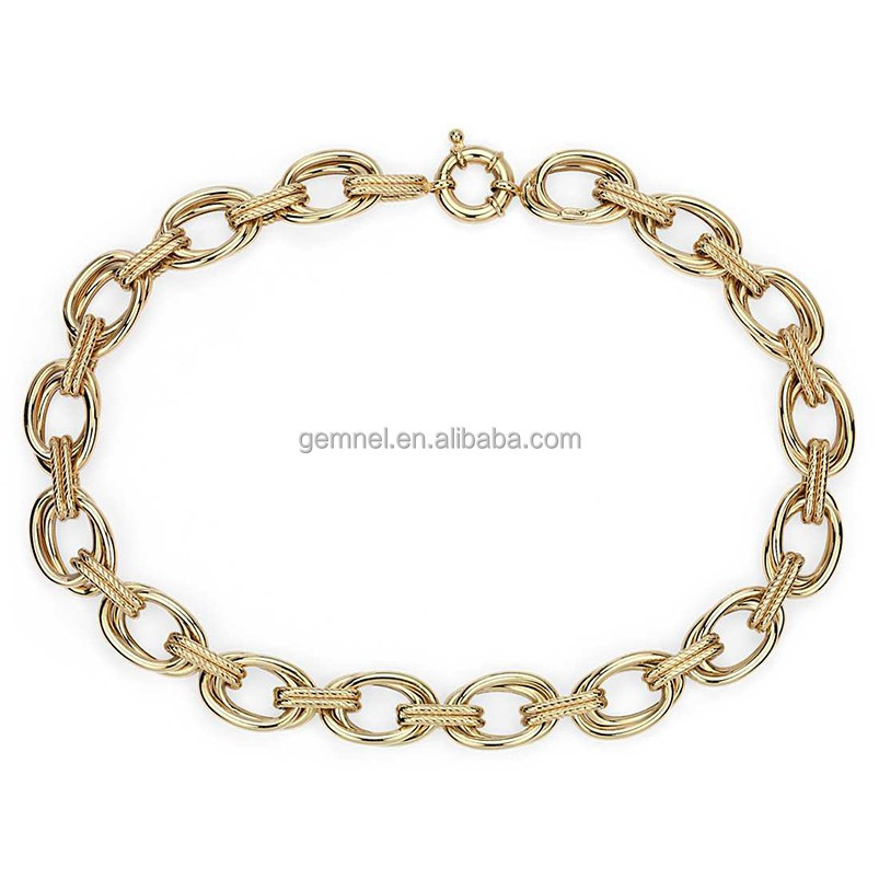 Wholesale rope double link statement 14k yellow gold chain necklace
