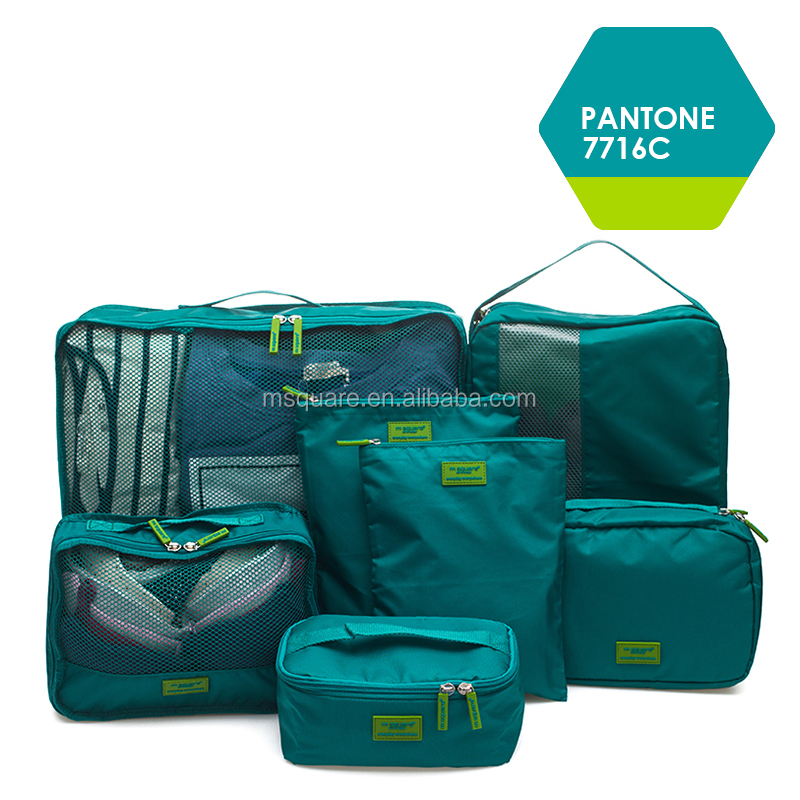 7pcs m square unisex waterproof nylon suitcase luggage storage travel bag for wholesale