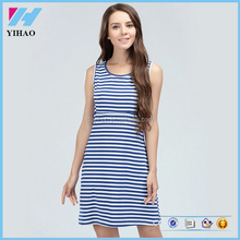 YiHao Fashion stripe maternity dress cotton material maternity clothes Sleeveless long and sexy maternity t-shirt