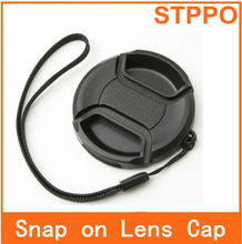 52mm Center-Pinch Snap-On Front Lens Cap with Cord for Canon Nikon