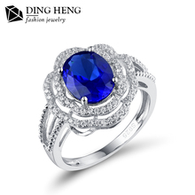 Fashion Oval Blue Sapphire Gemstone Flower Shape 925 Sterling Silver Jewelry Cocktail Ring for Women