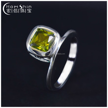 High Quality Sterling Silver Square Green Stone Ring