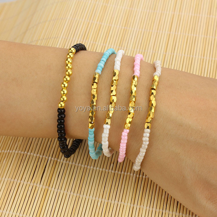 BRR0710 Fashion DIY Seed Bead Bracelets ,Small Tiny Gold Metal Nugget Beads Bracelets