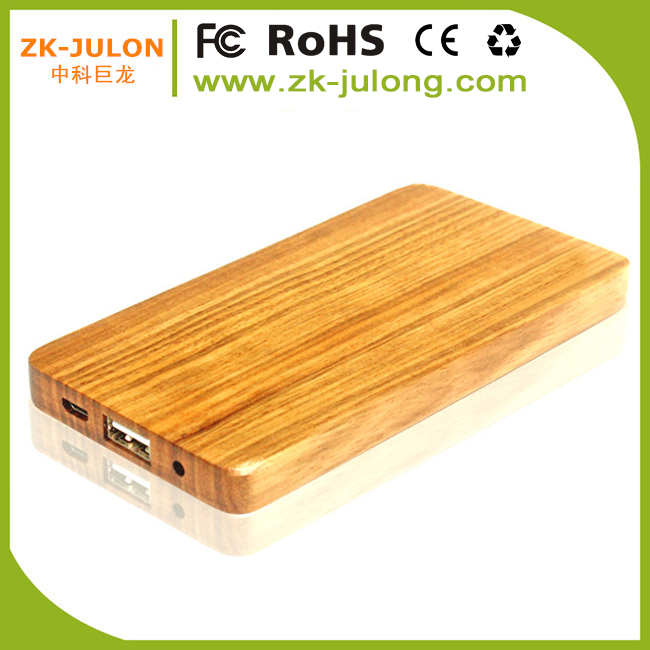 Popular natural custom wood slim power bank charger 4000mah with custom logo for Your mobile