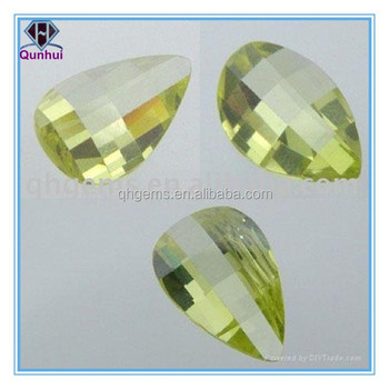 pear shaped light olive cubic zirconia gemstone