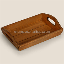 Hign-End Hotel Solid Wood Rectangular Serving Tray With Two Handles