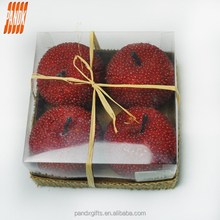 Halloween 4 pieces to hemp box 7.5 cm apple red dot style of decoration