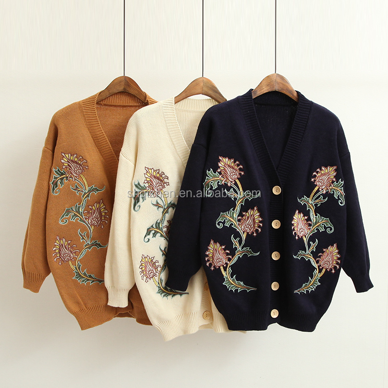 2017 latest new design long sleeve flower embroidered women's cardigan wholesale sweater