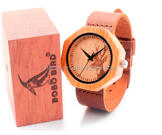 new BOBO BIRD men wooden watches luxury leather wood watch band wholesale bamboo wood face watch