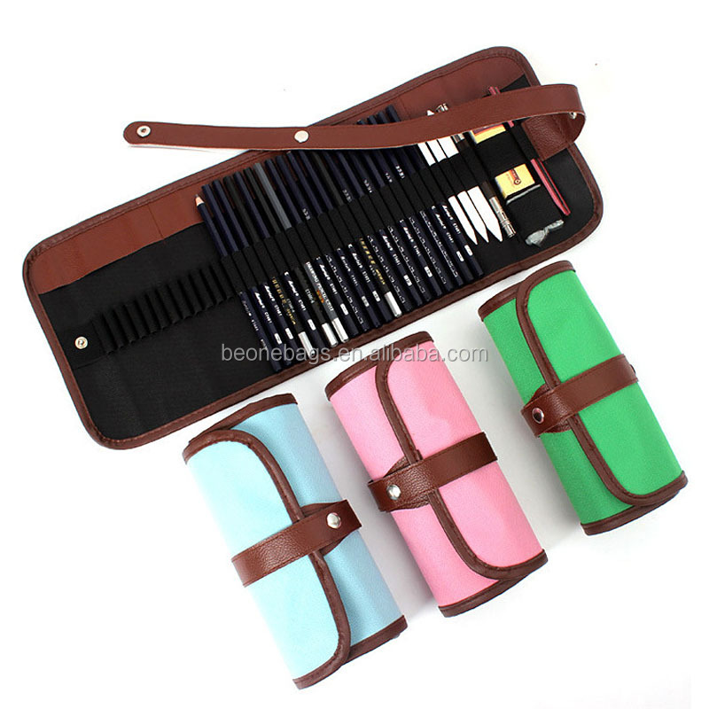 36 Pencil Holder Pro Art Drawing Roll Up Pencil Case with Waist Belt