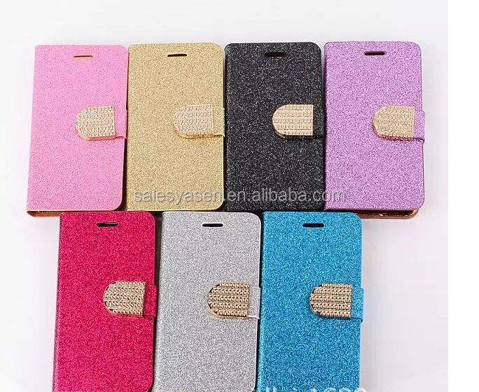 2014 New Coming Flip Cover Stand bling leather case for iPhone 6 4.7 inch