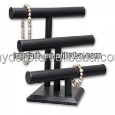 Black Round Tube Velvet Fancy Jewelry Display Stand