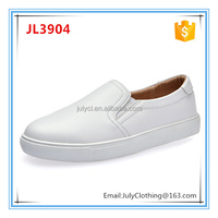 Classic Women White Casual Slip on Leather Shoes with Rubber Sole
