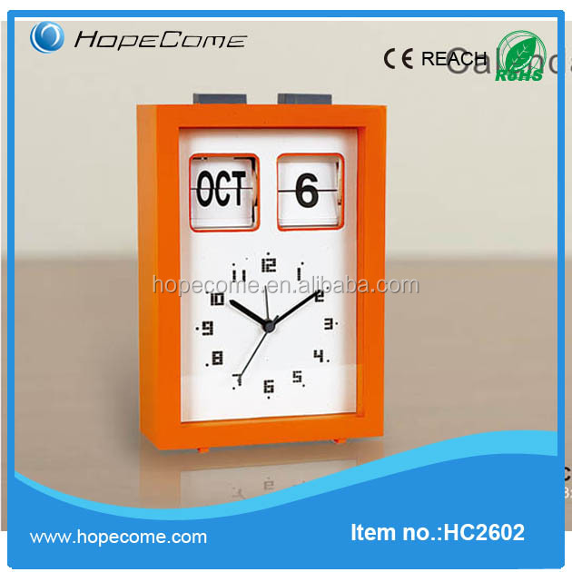 Table plastic date and day flip clock with steel frame