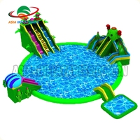 EN71 Standard PVC Inflatable Big Swimming Pool Water Park Tube With Slide