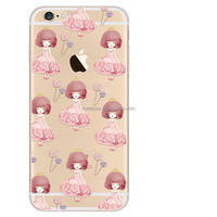 Clear Transparent candy girl cute design TPU cell phone case for iPhone 6 6S