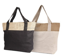 Eco-friendly Reusable Bag Women Shopping Jute Burlap Cotton Tote Bag