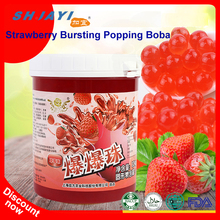New Product Strawberry Flavor Popping Boba Fruit Juice In Popping Balls Bursting Boba For Bubble Tea Ingredients