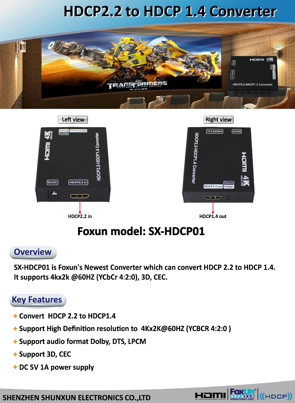 SX-HDCP01 4k HDCP v2.2 to v1.4 Converter - Allows you to Connect Sky Q etc to Tvs that will only support HDCP 1.4