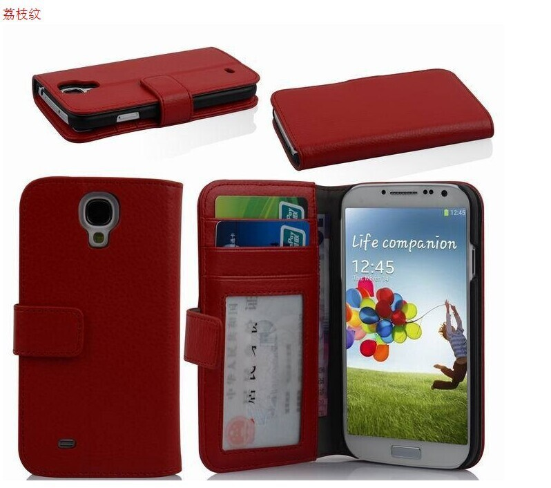 5 inch lichee pattern wallet style pu leather phone case for samsung s4