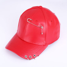 Men Women Red Black Funny Faux Leather Plain Driving Snapback Baseball Cap