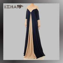 2017 New Style Arabic Navy Beige Jellaba Abaya For Women Muslim Maternity Clothing Malaysia Abaya