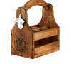 wooden craft beer carrier with attached bottle opener