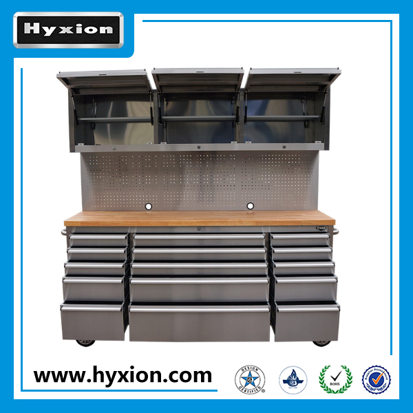 "High Quality 72"" stainless steel tool Boxes with wheels rolling tool Chest /Tool cabinet made in China"