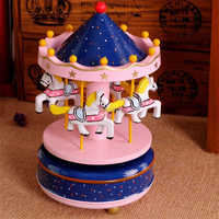 Mini christmas wooden toy carousel horses music box