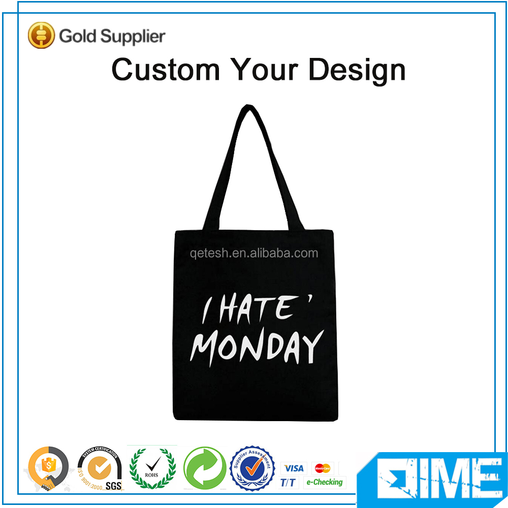 Cool Black Shopping Bag Foldable Tote Bag Cotton Canvas