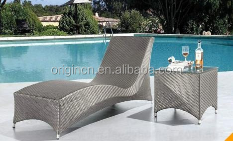 L shape wicker hotel home daybed and side table synthetic rattan outdoor furniture china
