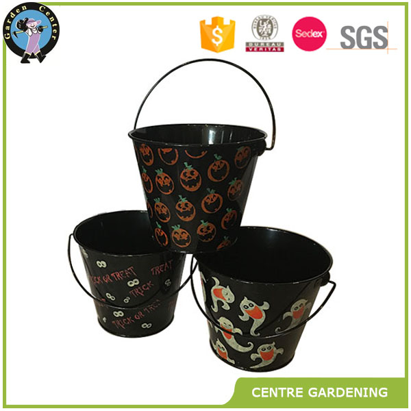 Halloween metal pots and planter with pumpkin painted