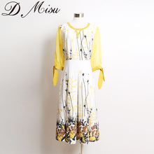 Clothes women vintage nail bead neck fashion printing dress