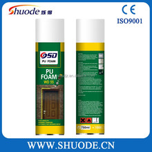 high adhesive strength spray pu foam 750ml white well Expanding Pu Foam scrap for Seal Gaps