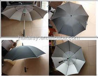 manual open outdoor straight golf umbrella with mini fan,umbrellas with fans