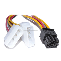6 Pin PCI-E Graphics Card to 2 x Molex IDE Y cable Power Adapter Cable