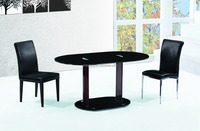 K119/DC-1029/DC-1028 Space-saving Black Leather Dining Table and Chair Set/Picnic Table Ellipse Dining Table/Banquet Table