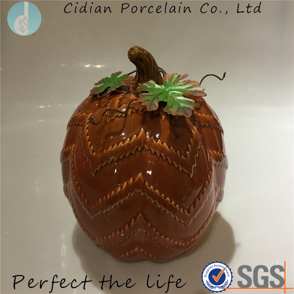 Large Ceramic Decorative Pumpkin with metal leaf