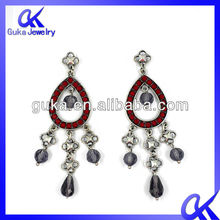 2012 popular jewelry earrings, red drop shaped earrings .three chain linked pendant earrings