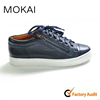 J001-14 DARK BLUE genuine leather soft casual shoes men and women lace up flat shoes