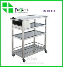 Hotel 3 layers stainless steel housekeeping cart , service cart , food service trolley for restaurant equipment