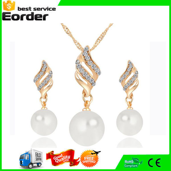 Fashion Spiral Pearl Drop and Diamond Earring Necklace Jewelry Sets